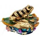 Декоративна метална кутийка за бижута - жабка върху лилиев лист