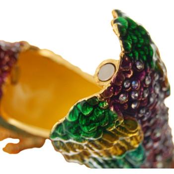 Декоративна метална кутийка за бижута - паун със свита опашка