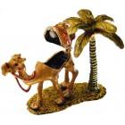 Декоративна метална кутийка за бижута - едногърба камила с палма до нея