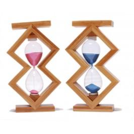 Декоративен пясъчен часовник с цветен пясък, в нестандартна дървена рамка