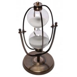 Декоративен пясъчен часовник с бял пясък, в нестандартна бронзова рамка, която се върти