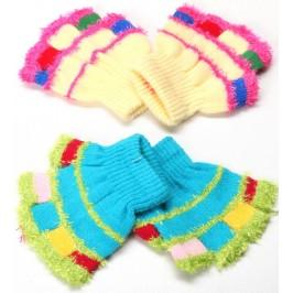 Плетени, топли, детски ръкавици с пет пръста - райе, с еластичен маншет