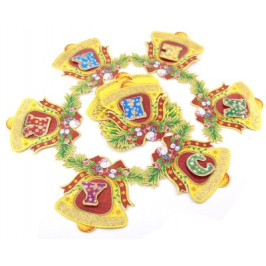 Коледен гирлянд от 14 картонени фигурки с двустранен цветен принт - камбанки, изписващи Merry Christmas