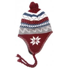 Малка плетена шапка с пискюли и връзки
