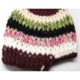 Цветна детска плетена шапка на раета с пискюл и връзки