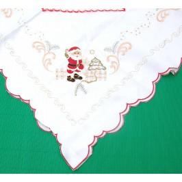 Коледна покривка за маса от фин текстил, декорирана с тематични бродерии
