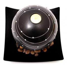 Декоративен сферичен свещник с поставка чиния, свещ и декоративни камъчета - черен