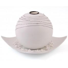 Декоративен сферичен свещник с поставка чиния, свещ и декоративни камъчета