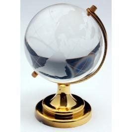 Декоративен глобус от стъкло със златиста поставка
