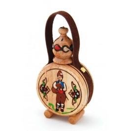 Традиционна дървена българска бъкличка с кожена дръжка