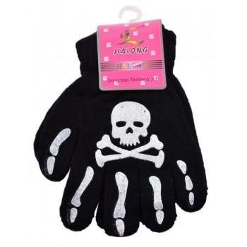 Детски черни ръкавици с декорация