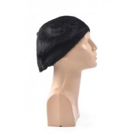 Черна зимна шапка, тип барета
