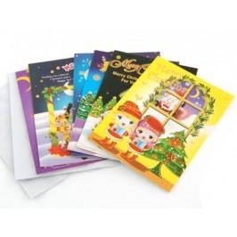 Коледна картичка - тематичен цветен принт върху картон