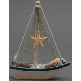 Сувенирна дървена фигурка - платноходка декорирана с морски рапани и миди