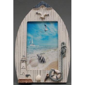 Декоративна дървена рамка за снимки - лодка декорирана с фар и пояс