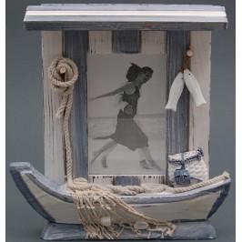 Декоративна дървена рамка за снимки - рибарска лодка с мрежа