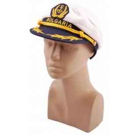 Лятна капитанска шапка с бродерия и козирка с регулируема лента