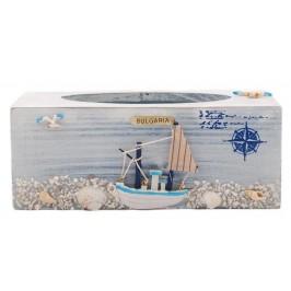 Сувенирна поставка за салфетки тип кутия, декорирана с морски мотиви