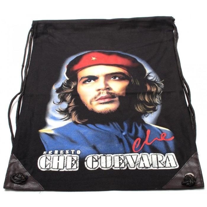 Мешка, изработена от черен бризентов плат с две щампи и черни въжета - Че Гевара