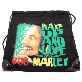Мешка, изработена от черен бризентов плат с две щампи и черни въжета - Bob Marley