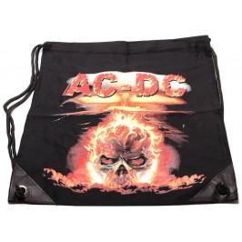Мешка, изработена от черен бризентов плат с две щампи и черни въжета - огнен череп - AC-DC