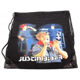 Мешка, изработена от черен бризентов плат с две щампи и черни въжета - Justin Bieber