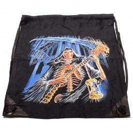 Мешка, изработена от черен бризентов плат с две щампи и черни въжета