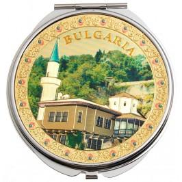 Сувенирно джобно огледало метал с капаче с декорирация - Двореца в Балчик