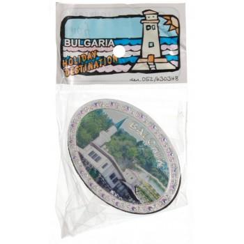 Магнитна овална пластинка с цветна графика - Двореца в Балчик