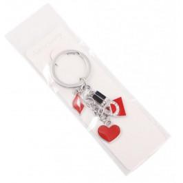 Сувенирен метален ключодържател - четири фигурки - чанта, устни, червило и сърце