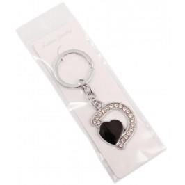 Сувенирен метален ключодържател - буква D с декоративни камъчета и черно сърце
