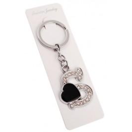 Сувенирен метален ключодържател - буква S с декоративни камъчета и черно сърце