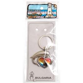 Сувенирен метален ключодържател - сърце с делфин - мелница Несебър