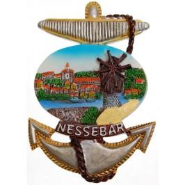 Сувенирна магнитна фигурка котва с верига - Вятърната мелница в Несебър