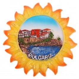 Сувенирна фигурка с магнит - слънце с изглед на морски пейзаж