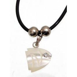 Нежно колие - черен силикон, с висулка - седефена рибка, декорирана с бял камък