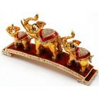 Декоративна метална кутийка за бижута - три слончета на постамент