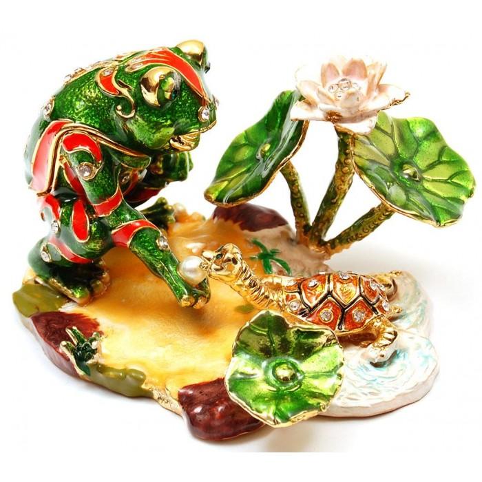 Декоративна метална кутийка за бижута - жабка и костенурка
