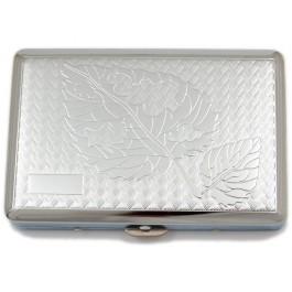 Стилна метална табакера с релефни фигури за 20 цигари
