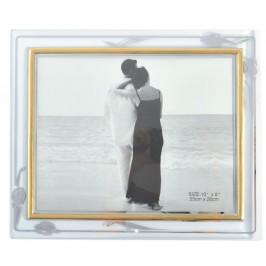 Стъклена рамка за снимки със златист кант и метално краче за поставка