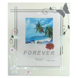 Стъклена рамка за снимка, красиво украсена с флорални мотиви и цветни камъни във формата на маргаритки