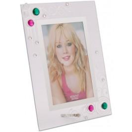 Стъклена рамка за снимка, красиво украсена с орнаменти и цветни камъни