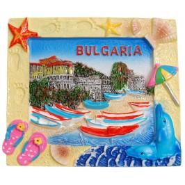 Декоративна релефна фигурка с магнит - капитанска среща в Несебър и надпис България