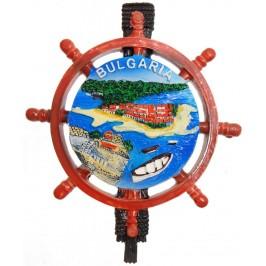 Сувенирна фигурка с магнит - рул с морски изглед, изработена от полирезин