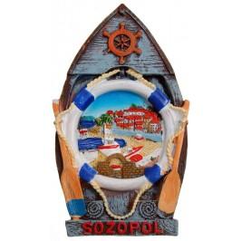 Декоративна релефна фигурка с магнит - лодка - Созопол