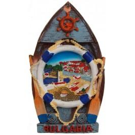 Декоративна релефна фигурка с магнит - лодка - морски пейзаж