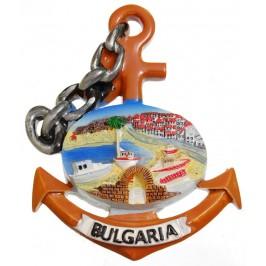 Сувенирна магнитна фигурка котва с верига - морски залив - България