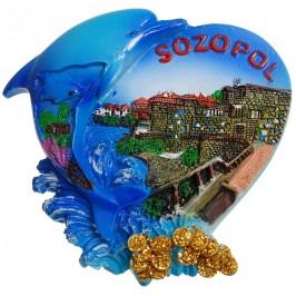 Декоративна гипсова фигурка с магнит - сърце с делфин - Созопол