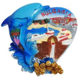 Декоративна гипсова фигурка с магнит - морски бряг и надпис България