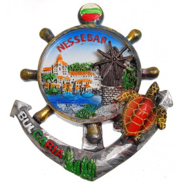 Сувенирна магнитна фигурка котва с рул - Несебър